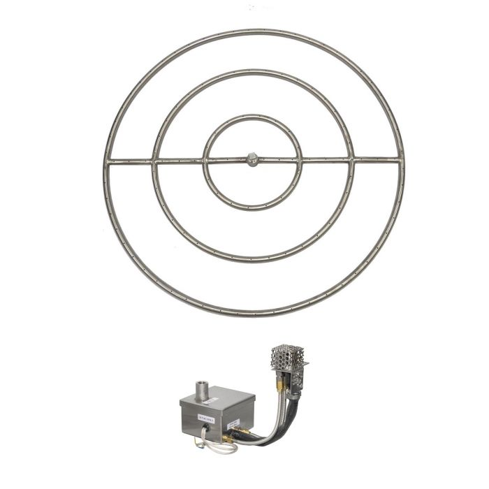 The Outdoor Plus OPT-1100xxBPEKIT Round Electronic Ignition Gas Fire Pit Burner Kit