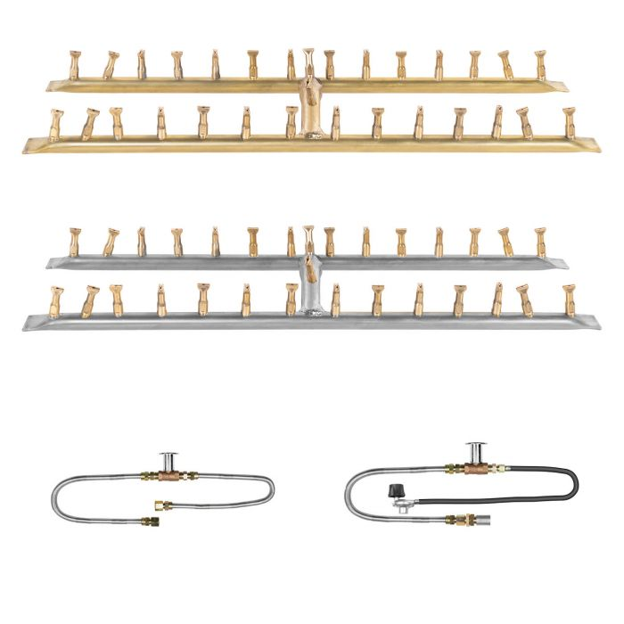 The Outdoor Plus OPT-BxxBH Linear H-Style Bullet Match Light Gas Fire Pit Burner Kit