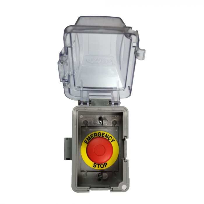The Outdoor Plus OPT-ESTOP Outdoor Rated Electrical Emergency Shut-Off Button for 110V Systems