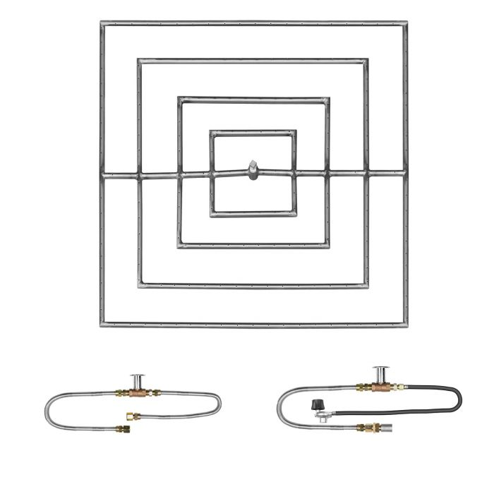 The Outdoor Plus OPT-PBSxx Square Match Light Gas Fire Pit Burner Kit