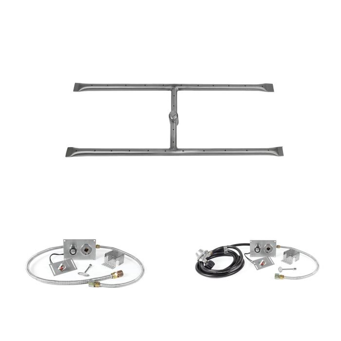 The Outdoor Plus OPT-REFD12xx-SPARK Linear H-Style Spark Ignition Gas Fire Pit Burner Kit