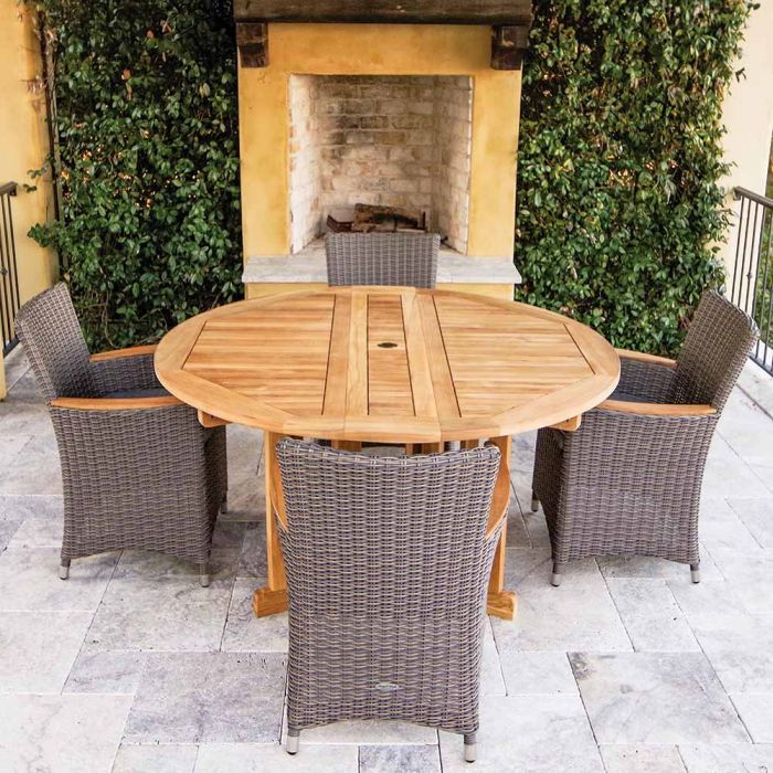 Royal Teak Collection P41 5-Piece Teak Patio Dining Set with 60-Inch Round Drop Leaf Table & Helena Full-Weave Wicker Chairs