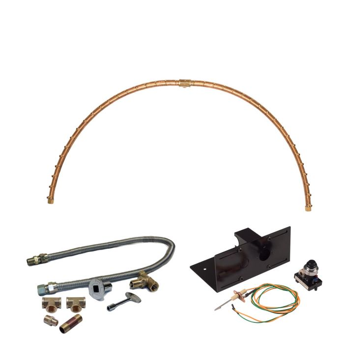 Warming Trends Crossfire Spark Ignition Half-Circle Brass Gas Fire Pit Burner Kits