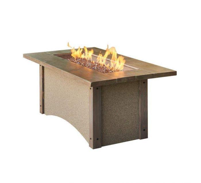 The Outdoor GreatRoom Company PR-1242BRN Pine Ridge Fire Table, Rectangular, Honey Glow Brown Burner, 32x61-Inches