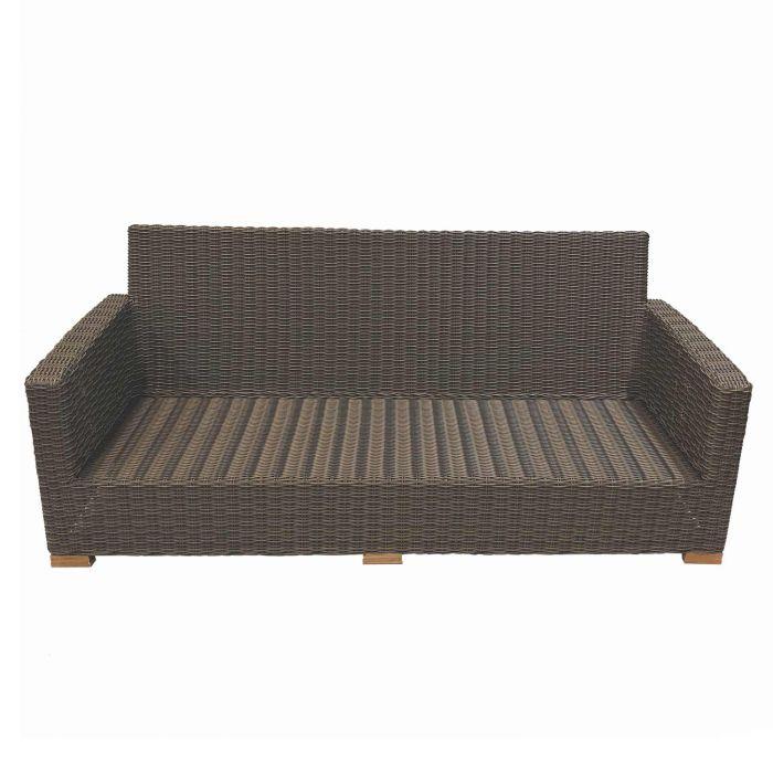 Royal Teak Collection SBS3FO Sanibel Deep Seating Wicker Sofa, Frame Only