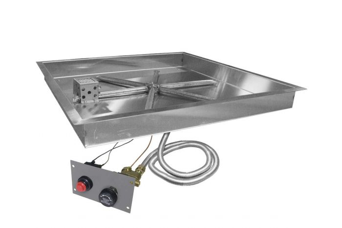 Firegear FPB-SBSTMSI UL Listed Spark Ignition Gas Fire Pit Burner Kit with Flame Sensing, Square Bowl Pan