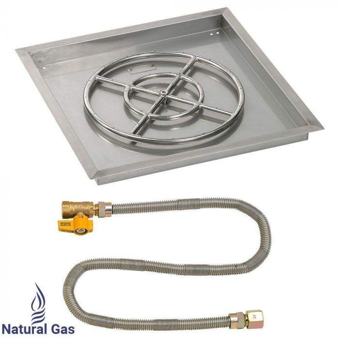 American Fireglass Match Light Fire Pit Kit, Square Bowl Pan, 24 Inch Pan/18 Inch Burner, Natural Gas (NG)