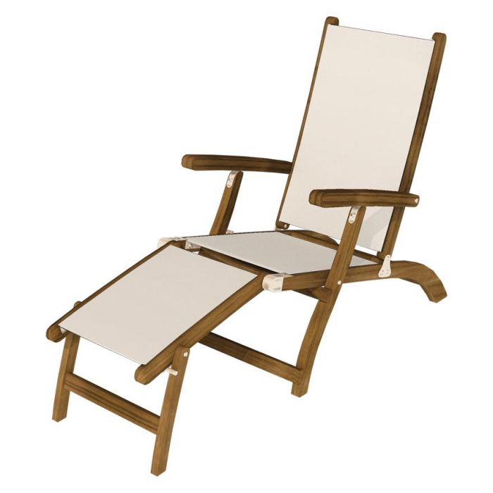 Royal Teak Collection STSL Teak Lounging Steamer Sling Chair