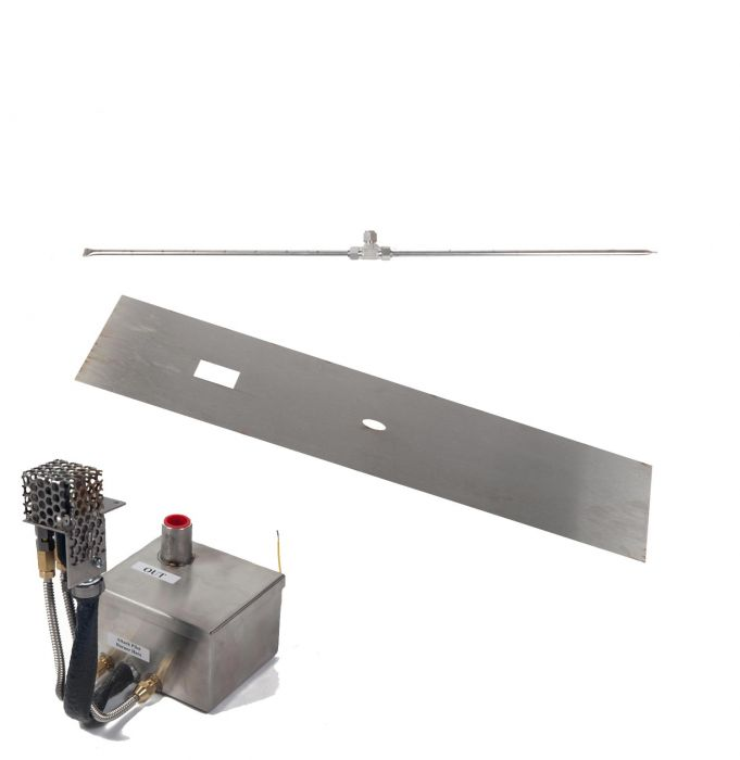 Fire by Design MGRTFBP-T Electronic Ignition Gas Fire Pit T-Burner Kit with Linear Flat Pan