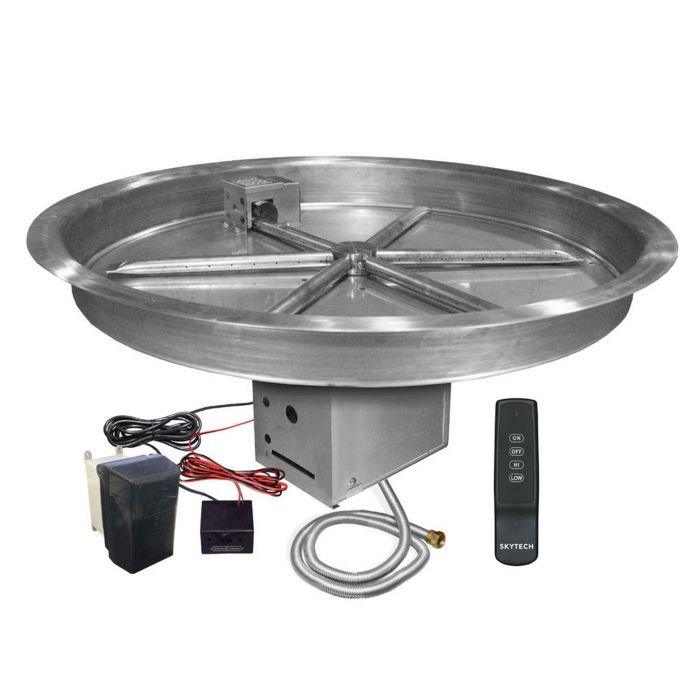 Firegear FPB-RBSTFS UL Listed Electronic Ignition Gas Fire Pit Burner Kit, Round Bowl Pan