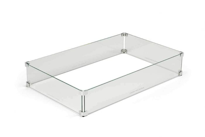 Hearth Products Controls WG49X21-RECT Fire Pit Glass Wind Guard, Rectangle, 49x21-Inch
