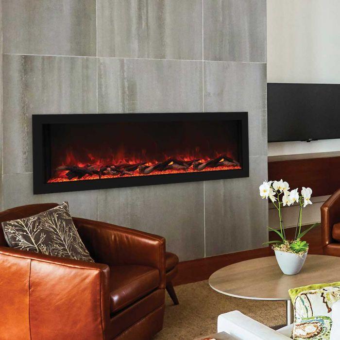 Remii 102765-DE Deep Indoor Built-In Electric Fireplace with Black Steel Surround, 65-Inch