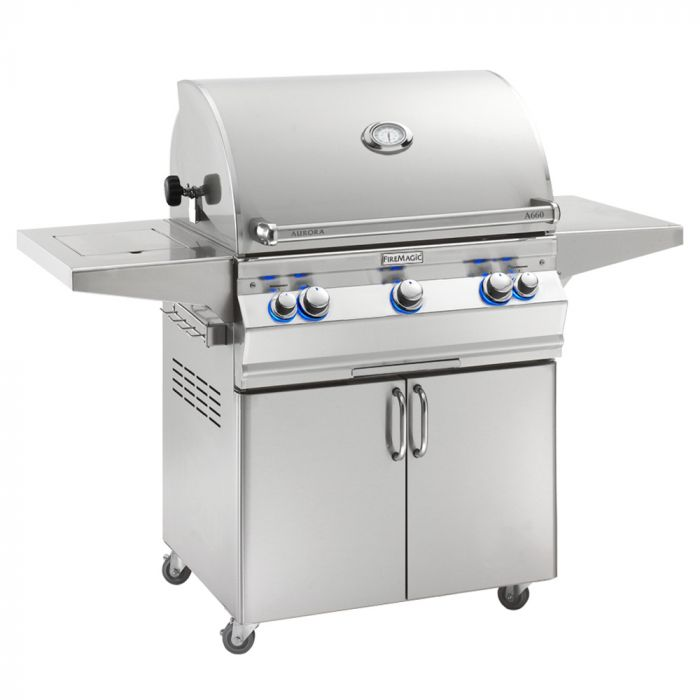 Fire Magic Aurora A660s Analog Series Natural Gas Grill On Cart with Single Side Burner