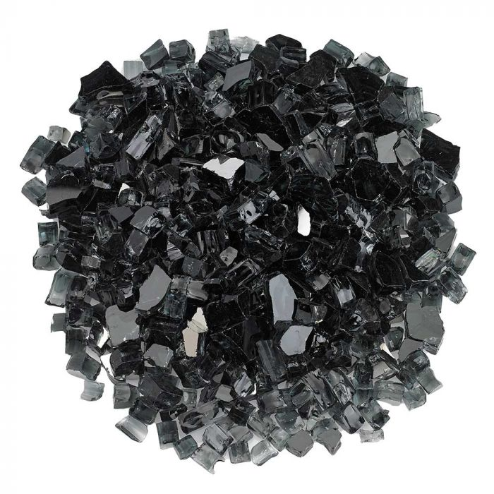 American Fireglass 10-Pound Premium Fire Glass, 1/2 Inch, Black Reflective