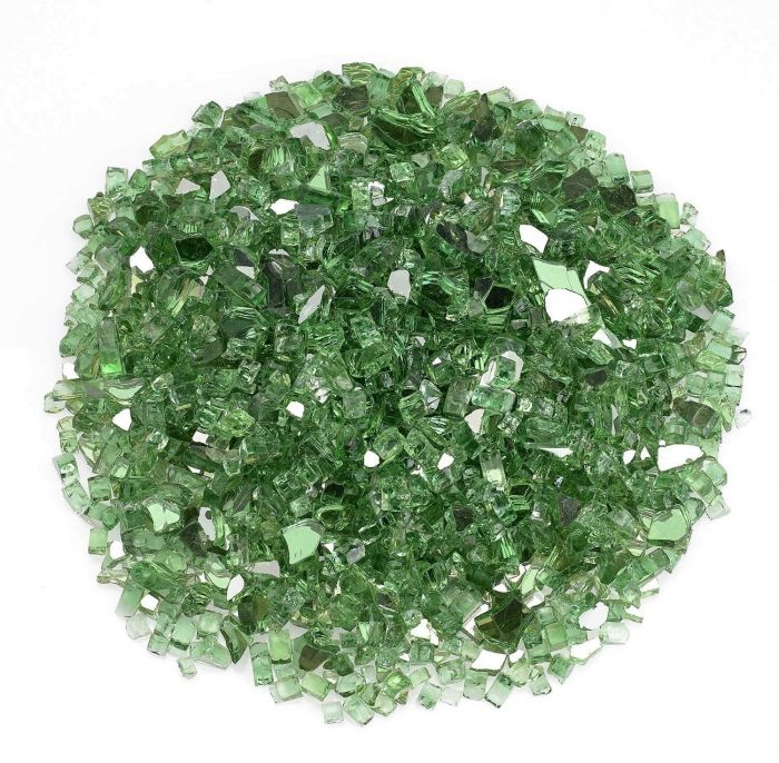 American Fireglass 10-Pound Premium Fire Glass, 1/4 Inch, Evergreen Reflective