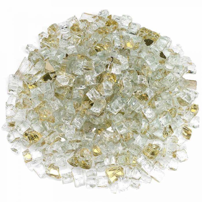 American Fireglass 10-Pound Premium Fire Glass, 1/2 Inch, Gold Reflective