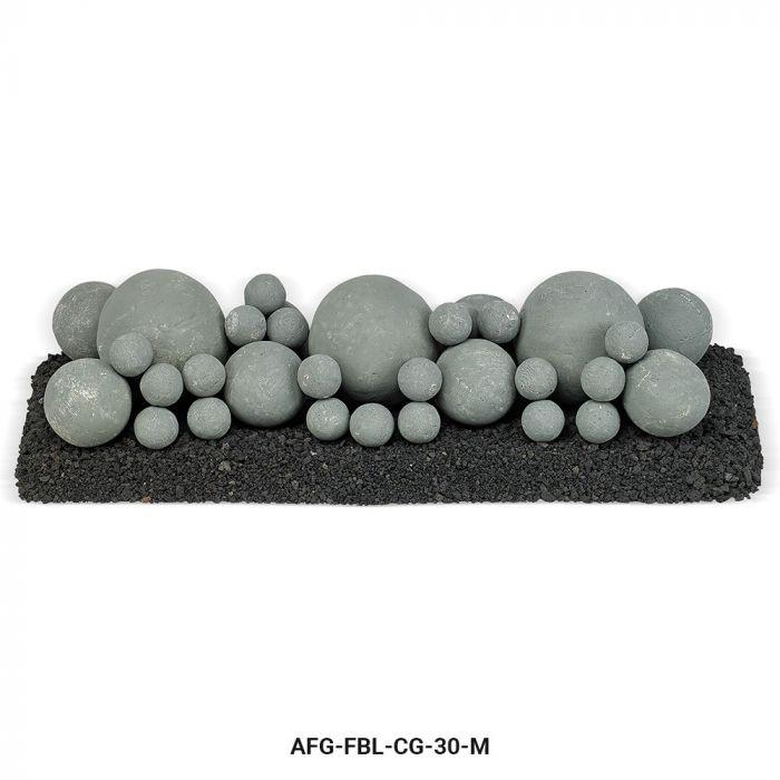 American Fireglass Mixed Ceramic Lite Stone Balls, Cape Gray