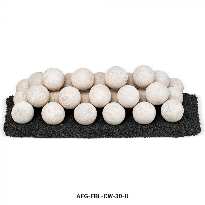 American Fireglass Uniform Ceramic Lite Stone Balls, Cottage White