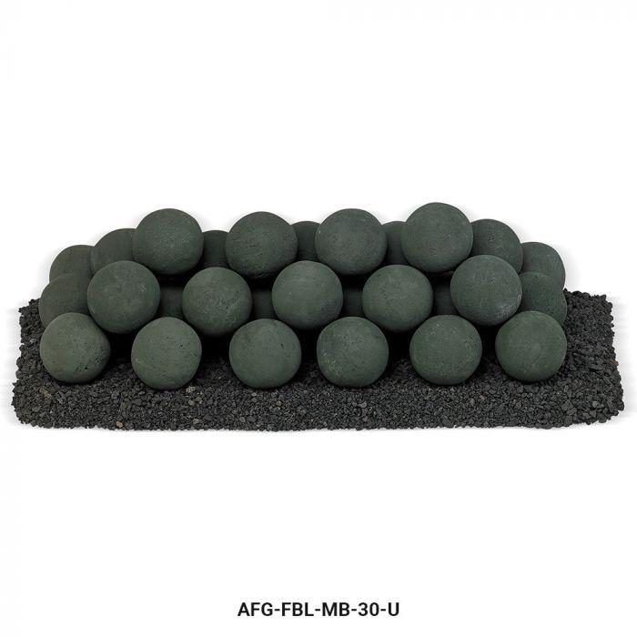 American Fireglass Uniform Ceramic Lite Stone Balls, Matte Black