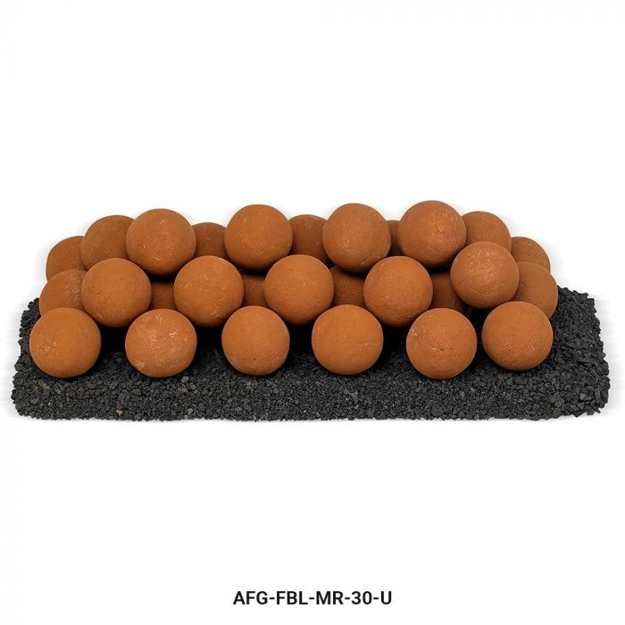 American Fireglass Uniform Ceramic Lite Stone Balls, Mesa Red