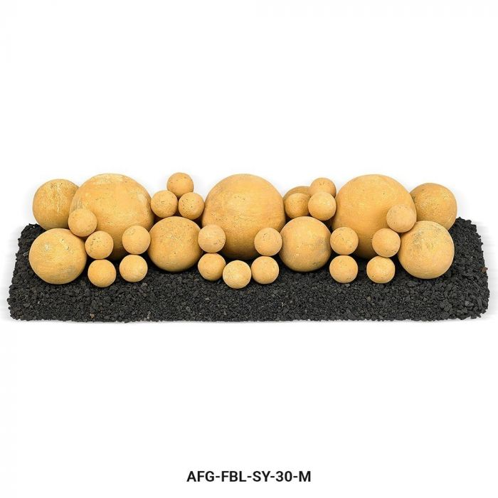 American Fireglass Mixed Ceramic Lite Stone Balls, Sundance Yellow