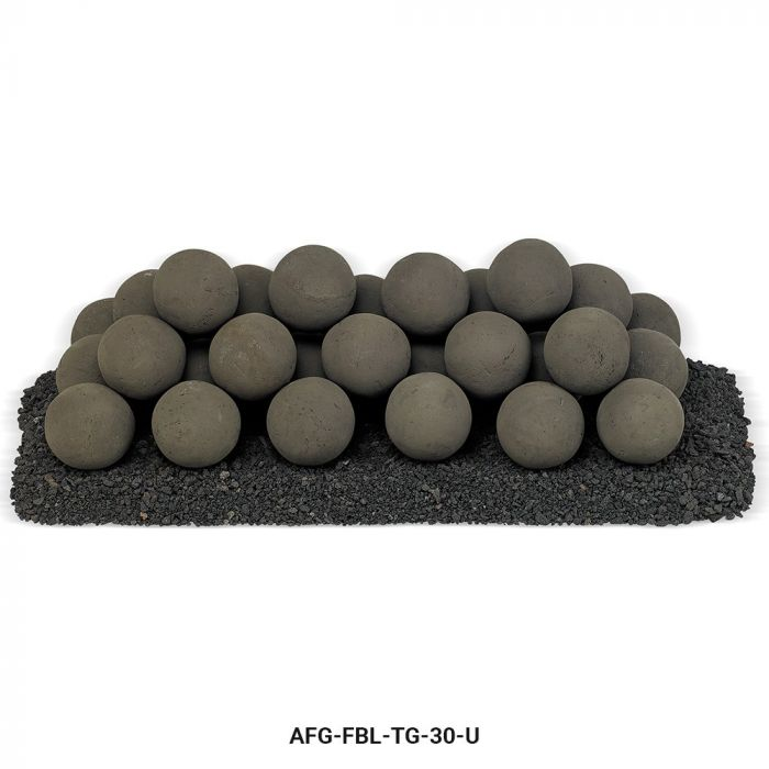 American Fireglass Uniform Ceramic Lite Stone Balls, Thunder Gray