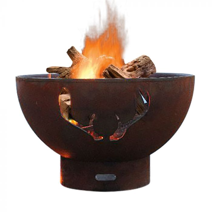 Fire Pit Art Antlers Wood Fire Pit