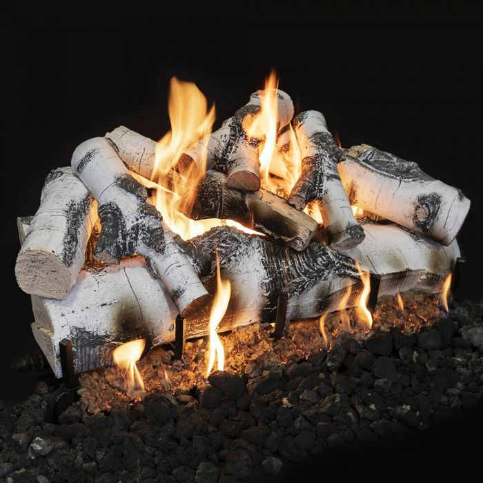 Grand Canyon ASPENST36LOGS Vented Quaking Aspen Double Sided Gas Log Set with 3 Burner System & 110V Spark to Pilot Valve, 36-Inches, Propane