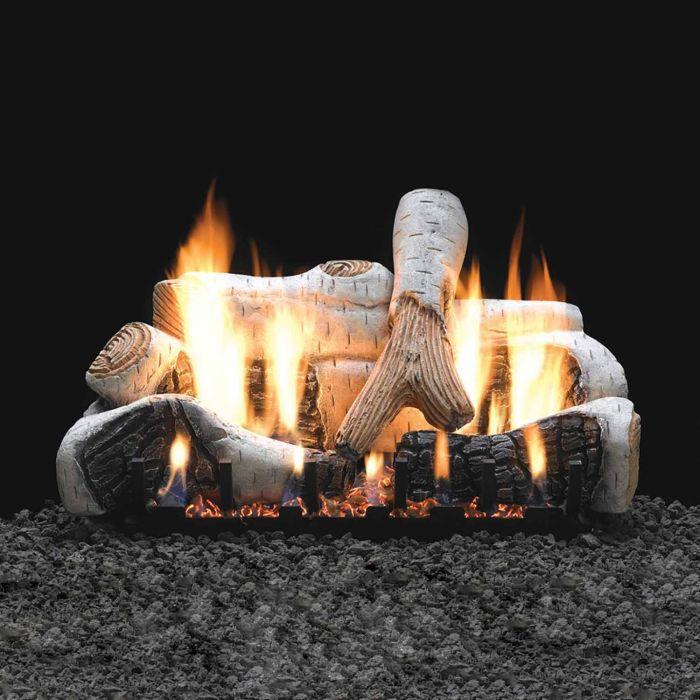 White Mountain Hearth LSxxB2V-Kit Birch Vented Ceramic Fiber Complete Fireplace Log Set