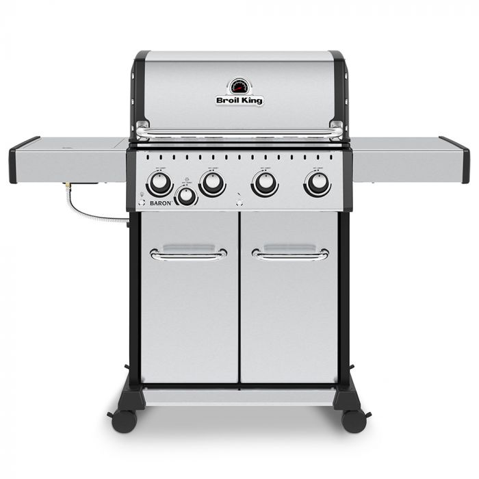 Broil King BR-S440 Baron S440 Pro Stainless Steel Infrared 4-Burner Gas Grill with Side Burner, 57-Inches