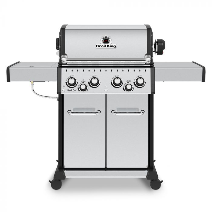 Broil King BR-S490 Baron S490 Pro Stainless Steel Infrared 4-Burner Gas Grill with Rotisserie and Side Burner, 57-Inches