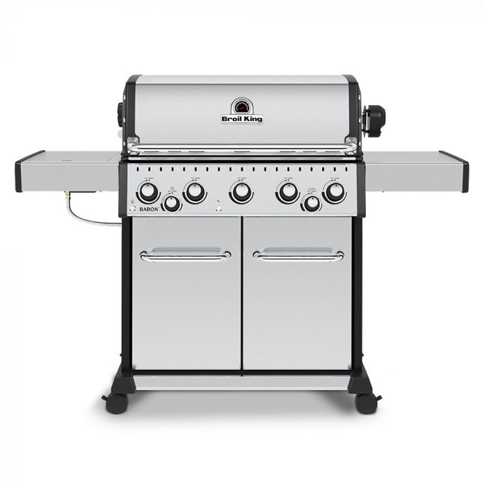 Broil King BR-S590 Baron S590 Pro Stainless Steel Infrared 5-Burner Gas Grill with Rotisserie and Side Burner, 63-Inches