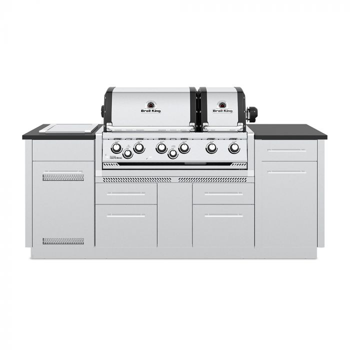 Broil King IMP-S690i Imperial S690i Stainless Steel 6-Burner Gas Grill Island, 86-Inches