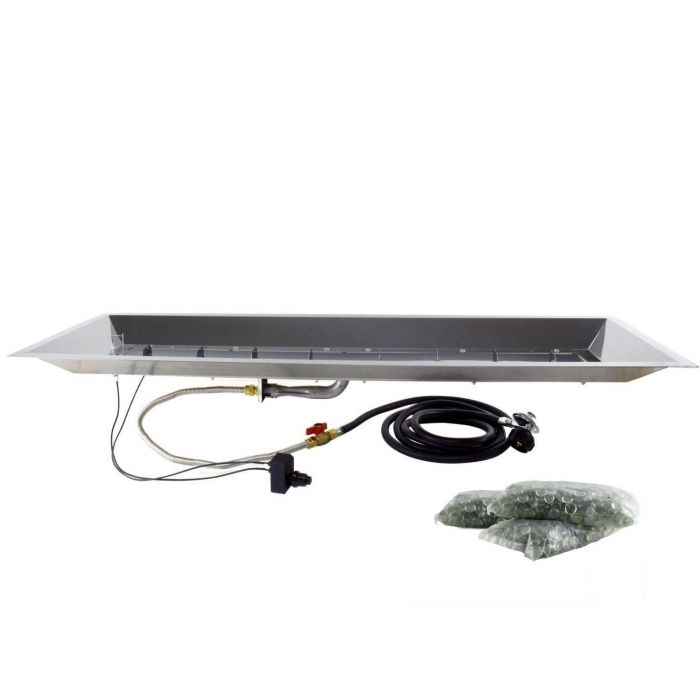 The Outdoor GreatRoom Company CF-1242 Spark Ignition Fire Pit Kit, 12x42-Inch Trough Pan