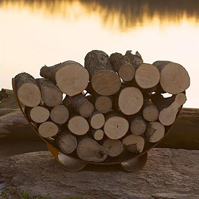 Fire Pit Art CRLR- Crescent Wood Log Rack, Carbon