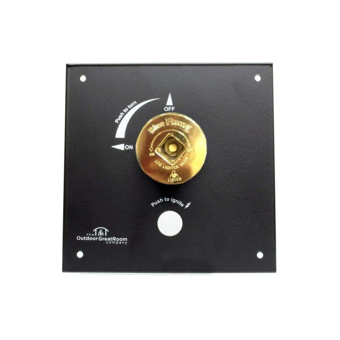 The Outdoor GreatRoom Company KV-CP-BLK Control Panel Valve Kit with Valve and Key, 6.5x6.5-Inch Panel