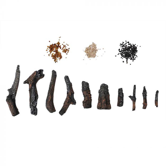Amantii DESIGN-MEDIA-OAK-10PCE 10-Piece Oak Log Set with Media Kit