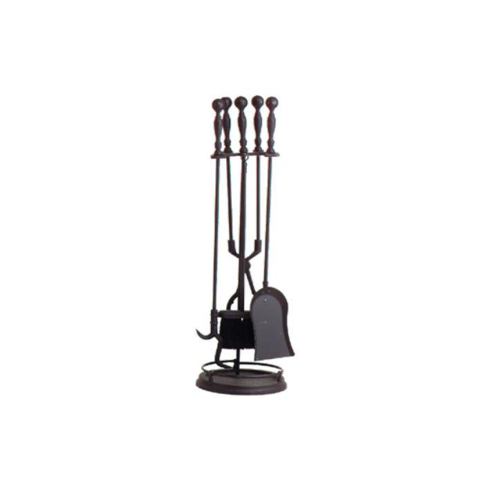Dagan DG-1156 Five Piece Fireplace Tool Set, Black