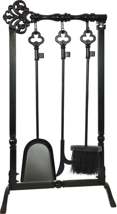 Dagan DG-1370 Four Piece Fireplace Tool Set, Black
