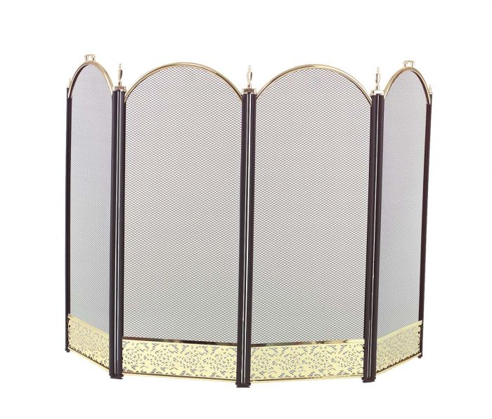 Dagan DG-2083-9F Four Fold Black and Polished Brass Arched Fireplace Screen, 52x32.5-Inches