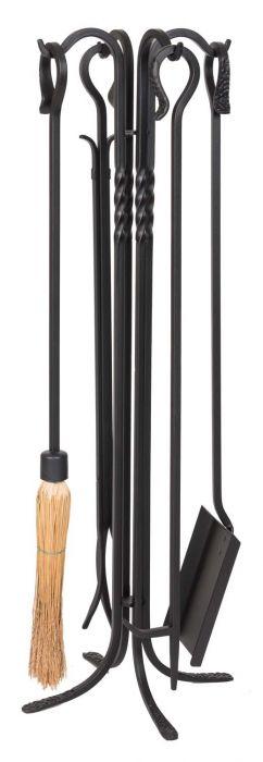 Dagan DG-5824 Five Piece Wrought Iron Fireplace Tool Set, Black