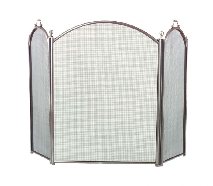 Dagan DG-7383-34 Three Fold Pewter Arched Fireplace Screen, 52x34-Inches