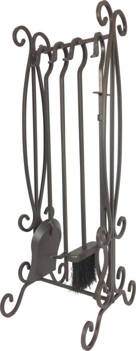 Dagan DG-7615 Five Piece Wrought Iron Fireplace Tool Set, Bronze