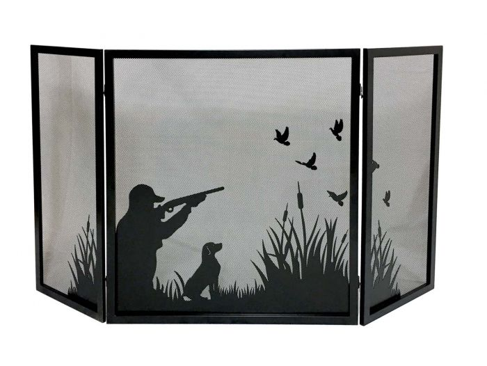 Dagan DG-S164 Three Fold Fireplace Screen with Duck Hunting Design, 57.75x32-Inches