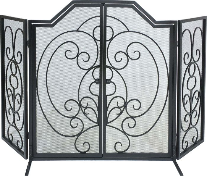 Dagan DG-S169 Three Fold Center Arched Scroll Design Black Wrought Iron Screen with Doors, 55x32-Inches