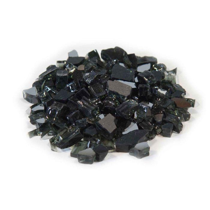 Dagan DG-TG-BLACK 1/4-Inch Reflective Fire Glass, 10, Black