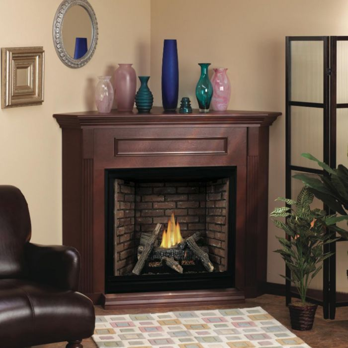White Mountain Hearth EMC22 Corner Cabinet Mantel with Base for Vail VFP24 Fireplaces