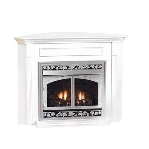 White Mountain Hearth EMBC4 Corner Cabinet Mantel with Base for Breckenridge VFD42 Deluxe Firebox