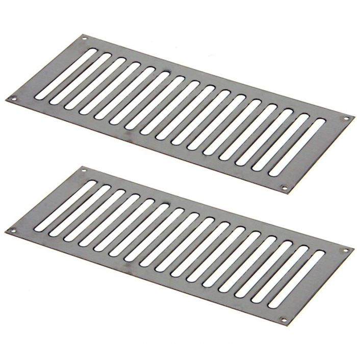 Hearth Products Controls Flat 12x6 Inch Stainless Steel Enclosure Vents, Set of 2
