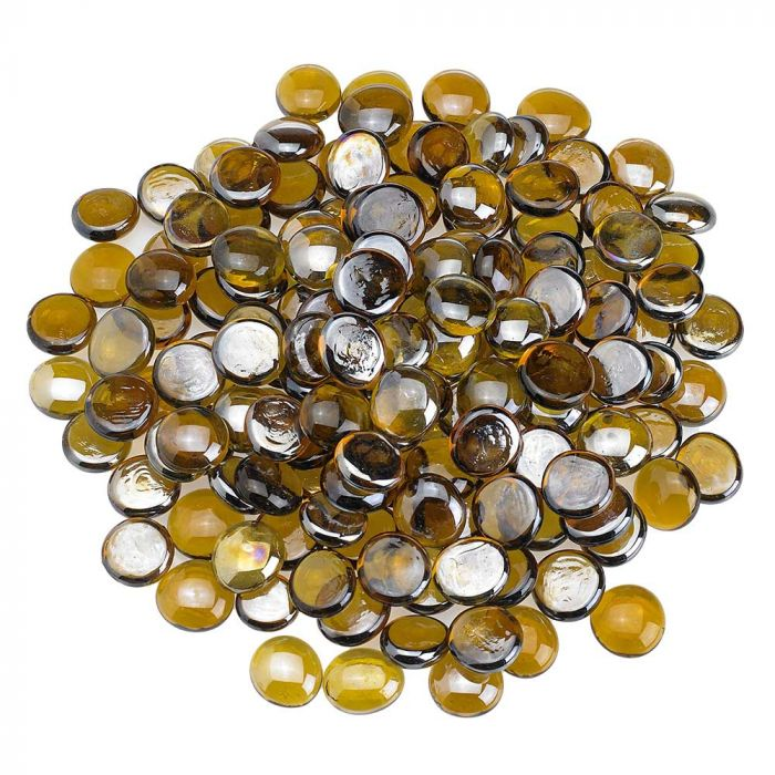 American Fireglass 10-Pound Fire Glass Beads, 1/2 Inch, Caramel Luster